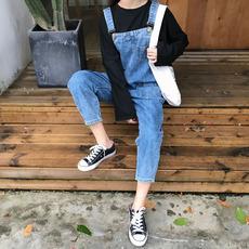 韩版chic帅气个性背带裤宽松休闲长裤口袋牛仔裤连体裤