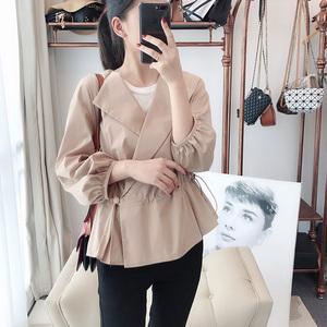 Áo khoác kiểu phù hợp, hiếm! Hiển thị eo dài chân đèn lồng tay áo đàn hồi eo dây kéo bông phụ nữ áo khoác phụ nữ đầu mùa thu
