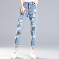 破洞牛仔裤女韩版高腰九分直筒学生百搭春夏季新款2018宽松长裤子