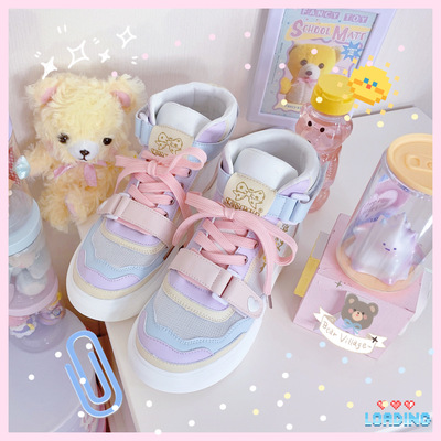 taobao agent [Mesh in stock] B0.2 high state sports shoes lolita running shoes jk uniform original star crown wild cute