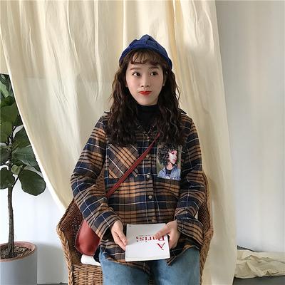 秋冬女装韩版chic复古格子卡通图案宽松长袖衬衫百搭衬衣学生上衣