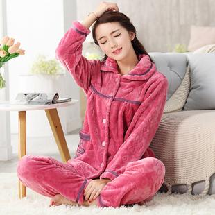 珊瑚绒睡衣女法兰绒套装可外穿家居服