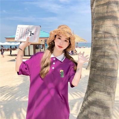 实拍实价韩版宽松紫色t恤polo衫印花短袖百搭上衣夏装女生潮91955