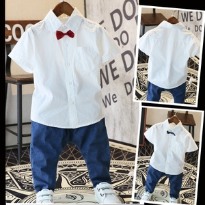 Trẻ em mùa hè của trường tiểu học nhóm áo sơ mi ngắn tay nhỏ máy chủ cotton boy nửa tay áo sơ mi màu trắng tinh khiết đồng phục học sinh