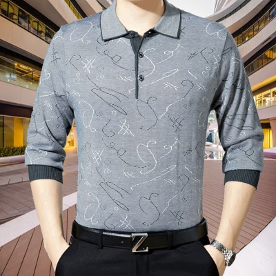 Mùa xuân và mùa thu trung niên nam băng lụa dài tay T-Shirt ve áo đáy áo mỏng phần cha mặc trung niên áo sơ mi lụa áo thun tay dài nam cao cấp Áo phông dài