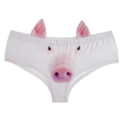 3D猪头内裤猫狗猪带耳朵女式低腰三角裤比基尼泳裤可爱胖次www.kanmjx.com