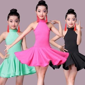 Trẻ em mới của trang phục khiêu vũ Latin nữ thực hành quần áo hiệu suất kiểm tra quần áo cạnh tranh phù hợp với mùa hè ngắn tay trẻ em khiêu vũ Latin váy