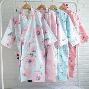 Bông gạc áo choàng tắm Nhật Bản kimono đồ ngủ của phụ nữ áo choàng tắm cotton gowns mùa hè mỏng hấp và gió cardigan nightdress