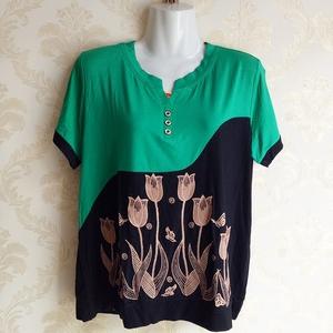 Phụ nữ trung niên của mùa hè ăn mặc T-Shirt ngắn tay áo mẹ ăn mặc cộng với phân bón XL phương thức nửa tay áo vest áo sơ mi