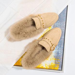 女冬季外穿网红保暖鞋一脚蹬毛毛鞋豆豆鞋