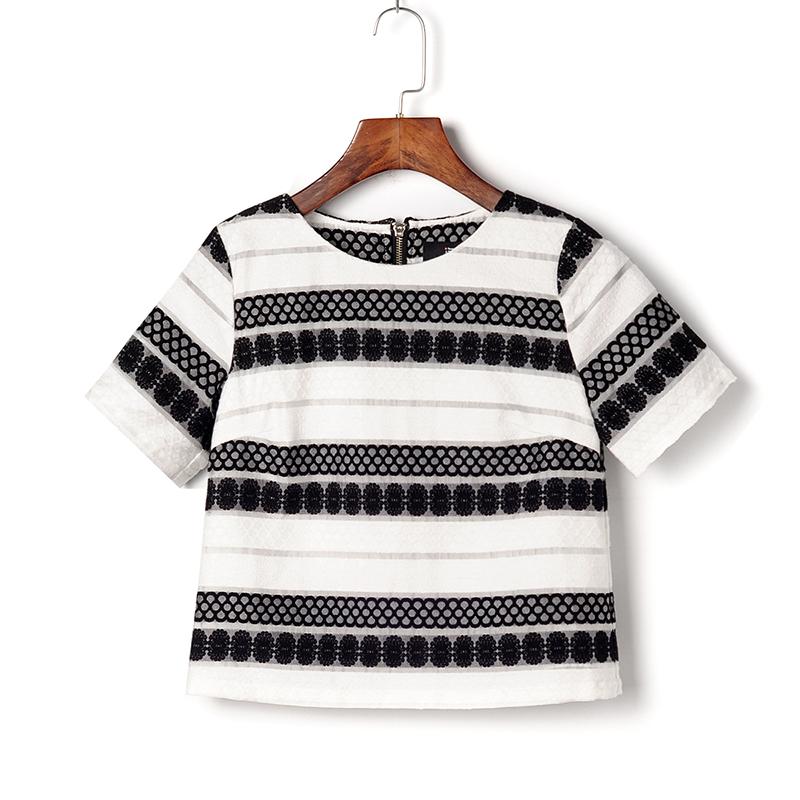 薇◆艾系列夏剪标女装品牌折扣店尾货 圆领半袖 暗纹绣花 衬衫