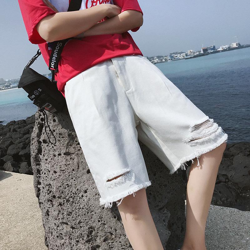 2018夏季105C-18D01-P45新款男士破洞短裤子港风日系休闲裤沙滩裤