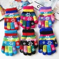 Зимний прекрасный разноцветный снежинка детские перчатки мужские и женские студент двухслойный утепленный Маленький ребенок удерживающий тепло перчатки оптовые продажи