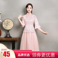 Одежда для подружек невесты китайский женский стиль 2019 новая коллекция осень-зима Ji Mei юбка платье для подружки невесты Cheongsam стиль Китайской Республики утепленный