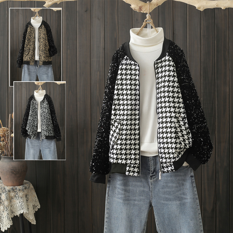 Spring and autumn large Plaid stitching Black Sequin jacket blouse short baseball collar zipper fashion coat fashion