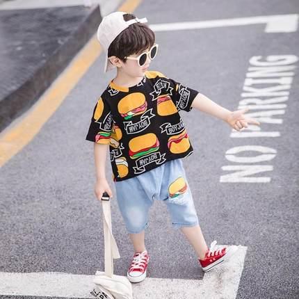 童装男童夏装套装2019新款儿童韩版男孩夏季短袖两件套帅洋气潮衣
