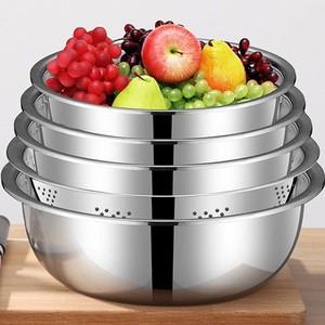 【五件套】不锈钢盆加厚加深厨房打蛋和面调料盆家用洗菜沥水盆子