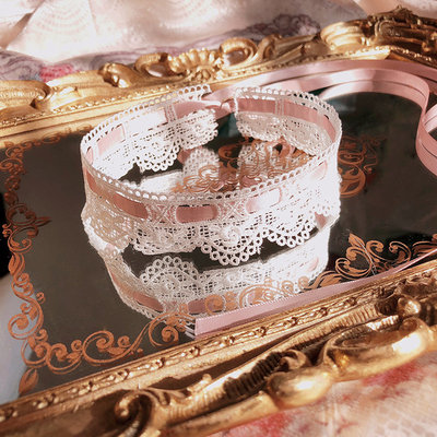 taobao agent 【maid】Girls Heart Neckband Necklace Pink Vintage Lace Choker Japanese Neckband Lolita Accessories