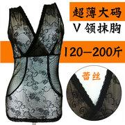 Kích thước lớn cơ thể corset chất béo mm siêu mỏng 200 kg phần mỏng mùa hè ren cổ chữ v bụng eo vớ