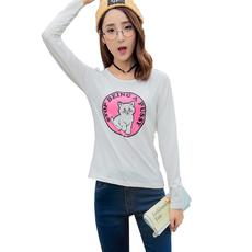 2018春季新款长袖T恤女时尚女装学生卡通印花修身上衣   实拍现货