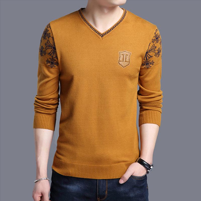 Áo len nam v-cổ của nam giới áo len dài tay t-shirt đáy áo mỏng phần màu rắn mùa xuân và mùa thu mô hình trẻ gà tim cổ áo triều