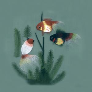 Nổi tiếng cổ thêu nghệ thuật thêu thêu diy kit người mới bắt đầu handmade sơn trang trí cá vui vẻ 30 * 30 CM