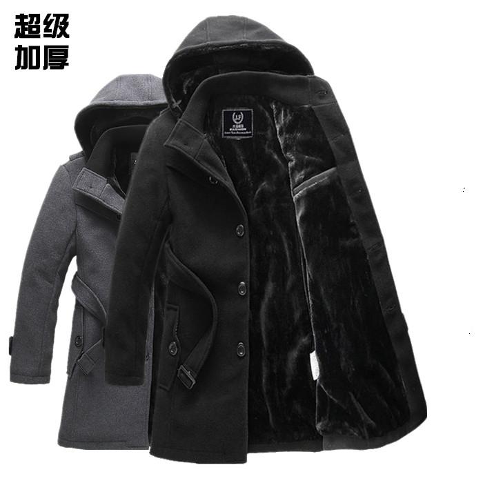 Áo khoác mùa đông nam áo khoác mùa đông dày áo gió nam len mùa đông mùa đông Hàn Quốc phiên bản của mỏng áo dài
