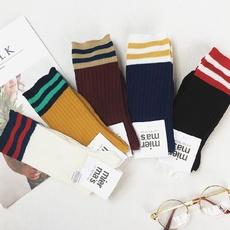 实拍 352特价韩版条纹中筒袜百搭袜袜子女士棒球袜(3对装)