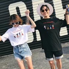 实拍1168#2018新款情侣装 纯棉刺绣短袖T恤 学生班服