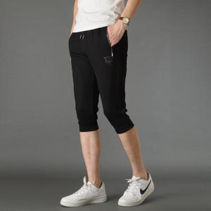 夏季短裤男七分裤棉小脚收口修身卫裤跑步透气薄款大码中裤876