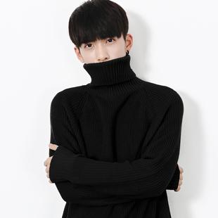 HUALUNifashion黑色高领毛衣男韩版宽松学生纯色打底长袖针织衫