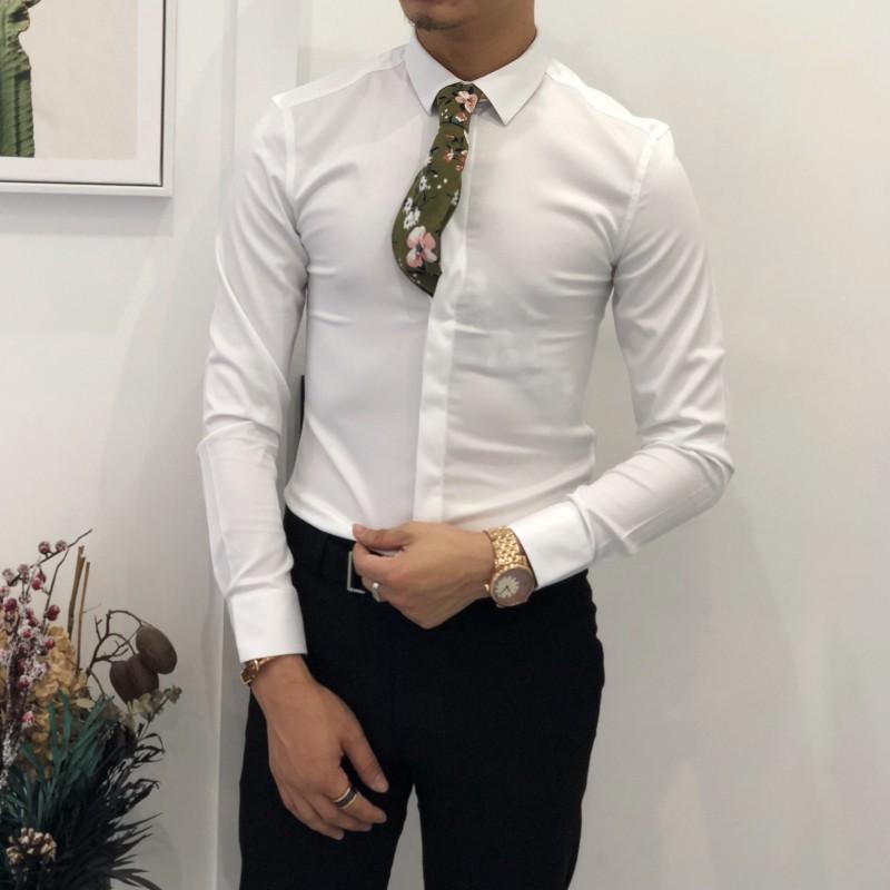 2018春款时尚简约纯色长袖衬衫男 韩版休闲百搭修身青年商务衬衣