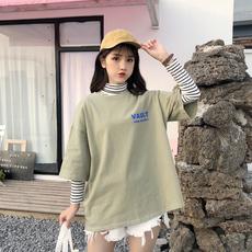 K12(实拍)2018开春新款短袖中长款T恤女印花学生女潮 【预售】