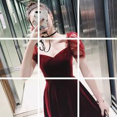 红色丝绒连衣裙女春高腰荷叶边公主袖欧美名媛内搭A字中长裙