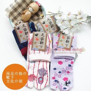 * Vớ bông ngón chân Hai ngón tay vớ Hai ngón tay vớ nữ gió Nhật Bản Jacquard thêu hai ngón chân vớ hai ngón chân vớ phụ nữ vớ