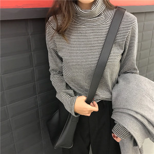 ~实拍 韩国复古自制款加厚磨毛细条纹超高领保暖打底长袖T恤