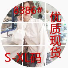 8386#纯棉长袖木耳领衬衫女韩范花边领宽松灯笼袖上衣潮