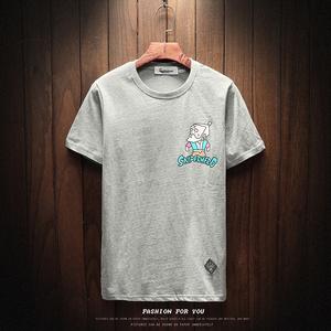 原创中国风潮牌葫芦娃圆领短袖t恤男女装复古原宿Y8972p35