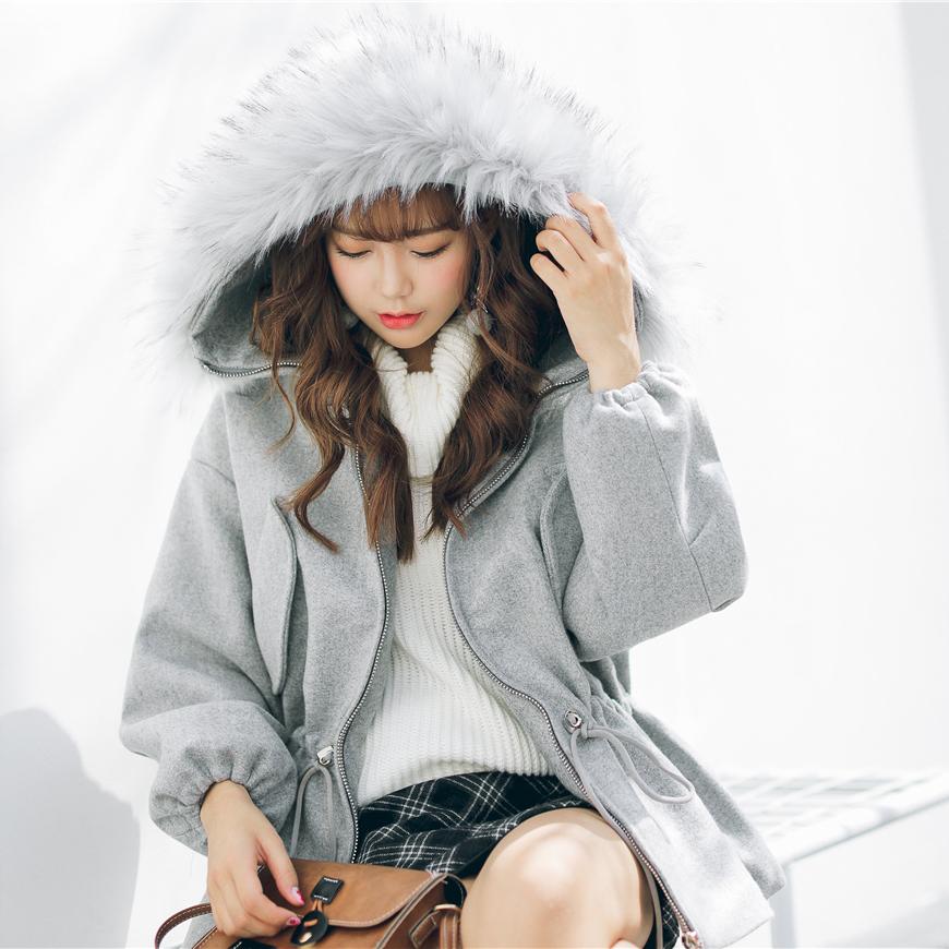 实拍2017冬新款韩版短款毛呢外套女收腰学生加厚呢子大衣9021