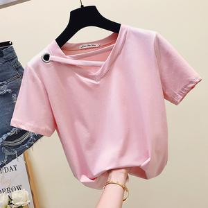 319#夏装新款韩范v领交叉粉色短袖T恤女装纯色半截袖小心机上