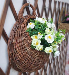 Wicker tường treo flower vase giỏ hoa chậu hoa ban công hoa đứng tường treo vật liệu tự nhiên vòng vườn làm bằng tay