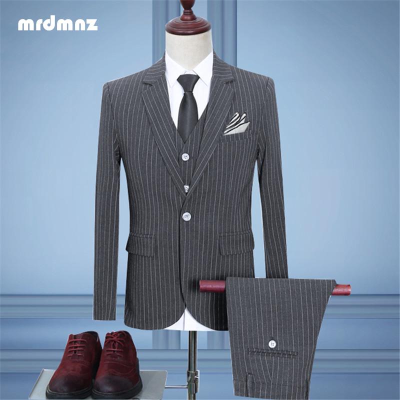 Bốn mùa nam kinh doanh phù hợp với sọc phù hợp với thanh niên mỏng kích thước lớn chú rể váy cưới phù hợp với ba mảnh phù hợp với nam - Suit phù hợp