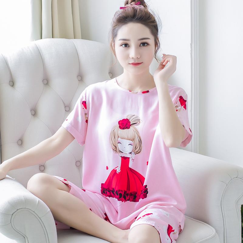 Bông lụa đồ ngủ của phụ nữ mùa hè ngắn tay phù hợp với bông lụa của phụ nữ quần phần mỏng cotton nhân tạo dịch vụ nhà kích thước lớn hai mảnh