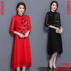 7098#春夏装新款民族风女装长裙刺绣中国风红色真丝桑蚕丝连衣裙
