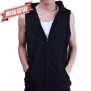 Mùa hè Slim vest nam Hàn Quốc phiên bản của áo khoác xu hướng áo len trùm đầu tập thể dục không tay hurdle mỏng vest nam