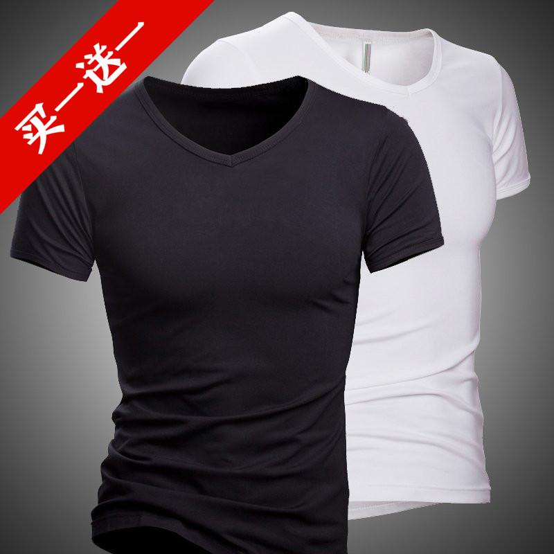 Mùa hè siêu mỏng nam ngắn tay T-Shirt băng lụa phương thức slim chặt V-Cổ mùa hè nửa tay t-shirt quần áo