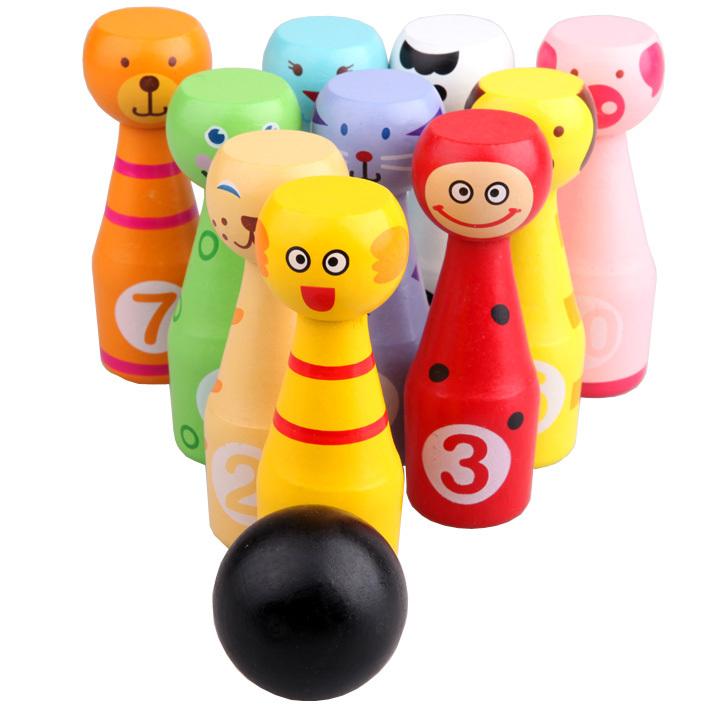 Trẻ em lớn của rắn gỗ động vật phim hoạt hình bowling bé early education puzzle thể thao đồ chơi thiết lập trong nhà và ngoài trời 1-3
