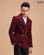 超越酒红色黑色骑仕秋冬新款韩版修身时尚羊毛呢绒男士加长大衣
