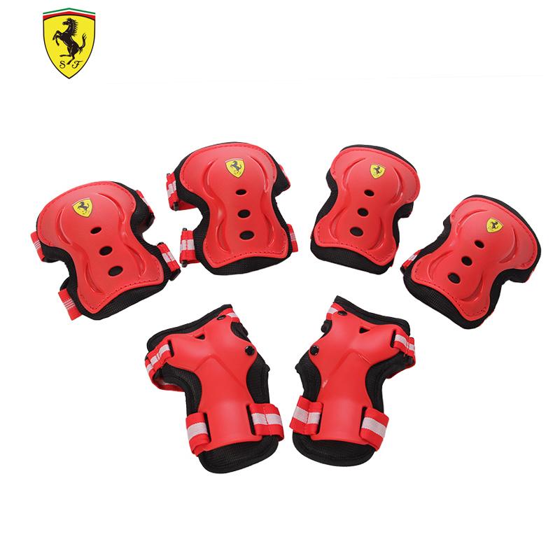 Ferrari cực thể thao trượt con lăn skateboard đồ bảo hộ 6 piece đặt trẻ em miếng đệm đầu gối cổ tay khuỷu tay
