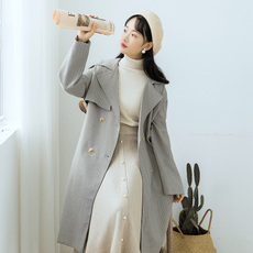 【6393#不低于159】中长款工装风衣外套2018秋装韩版过膝chic大衣